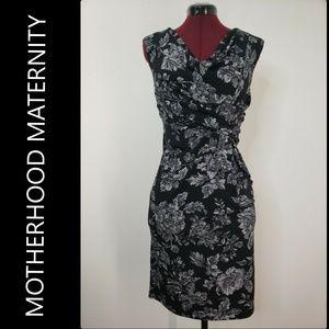 Motherhood Maternity Floral Black Dress Sz Medium